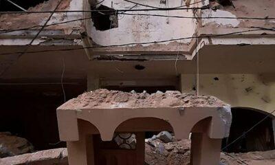 Gaza, un edificio seriamente danneggiato maggio 2021
